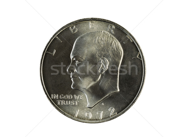 Single Eisnehower Silver Dollar on White  Stock photo © tab62