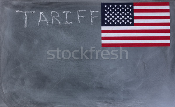 Chalkboard with writing of tariff and United States flag Stock photo © tab62