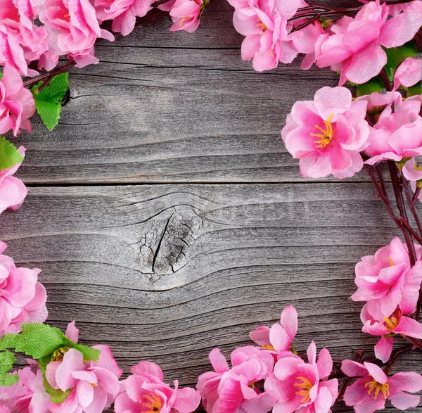 Cerchio seta fiore di ciliegio rami vintage legno Foto d'archivio © tab62