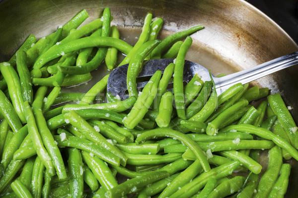 Koken vers groene bonen tuin spatel koekenpan Stockfoto © tab62