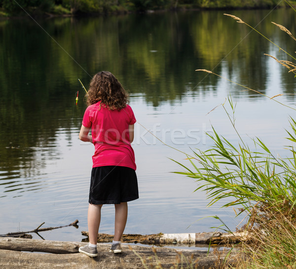 Young Girl looking where to fish on lake  Stock photo © tab62