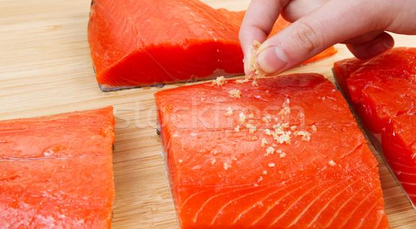 Deniz tuzu kırmızı somon yatay fotoğraf kadın Stok fotoğraf © tab62