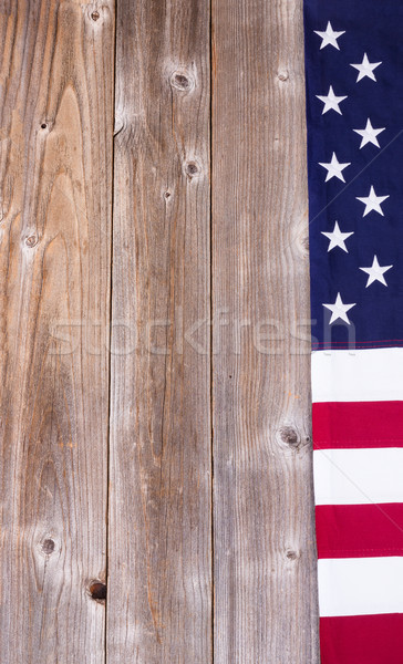 Border of USA flag on rustic wooden boards Stock photo © tab62
