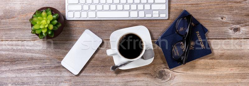 Pianificazione futuro viaggio caffè altro apparecchiature per ufficio Foto d'archivio © tab62