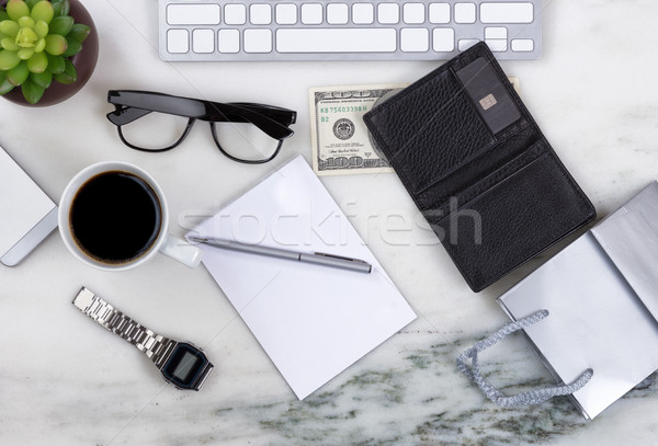 Desktop surface with objects to prepare for shopping on line  Stock photo © tab62