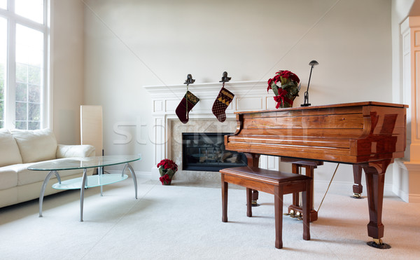 Grand piano with Christmas decorations during the holiday season Stock photo © tab62