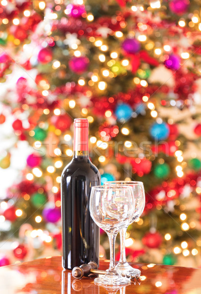 Preparing to celebrate for the seasonal holidays with red wine   Stock photo © tab62