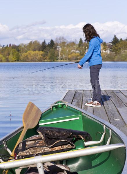 漁船 ドック 若い女の子 釣り 水 少女 ストックフォト © tab62