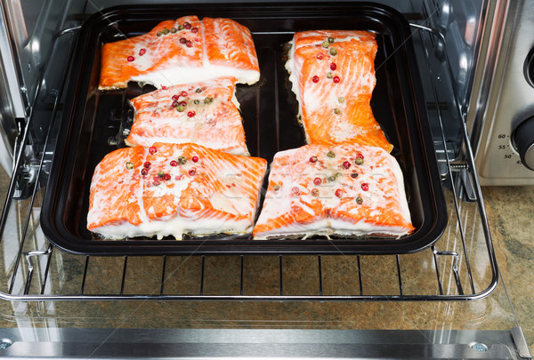 Freshly Baked Salmon in Oven Tray  Stock photo © tab62