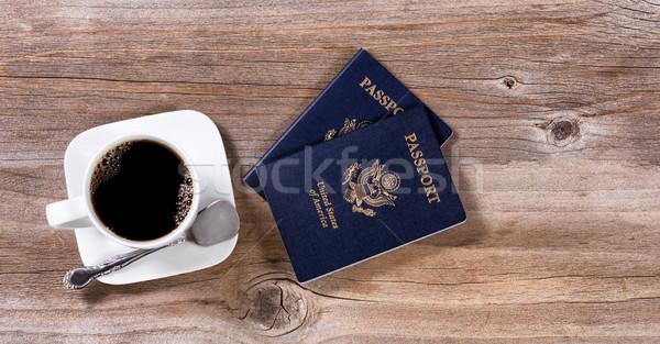 планирования путешествия темно кофе деревенский Сток-фото © tab62