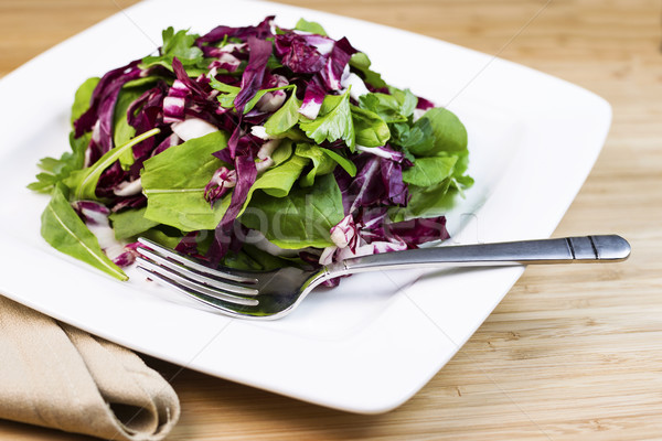 Fresh Salad and herbs on Plate with Fork and Napkin  Stock photo © tab62