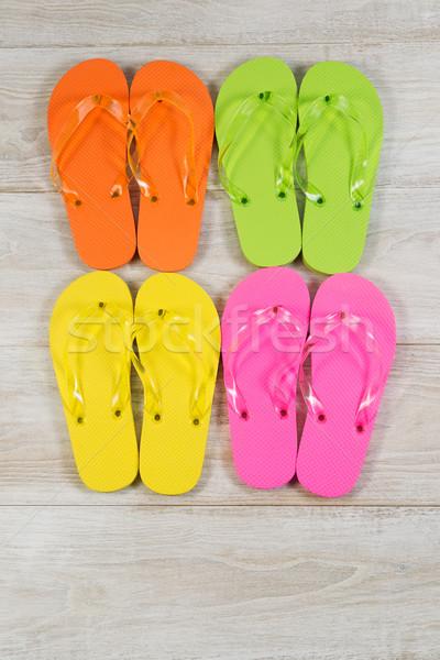 новых сандалии древесины вертикальный изображение четыре Сток-фото © tab62