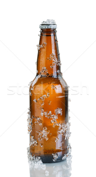 Beer bottle with ice and condensation on white background Stock photo © tab62
