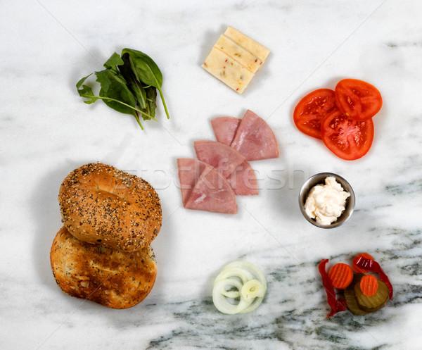 Fresh ingredients to make Sandwich on white marble stone backgro Stock photo © tab62