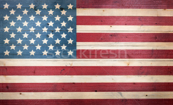 USA flag painted on faded wooden boards Stock photo © tab62