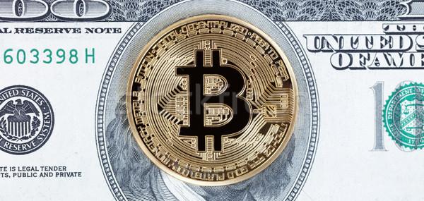 Bitcoin érme papírpénz arany számítógép pénz Stock fotó © tab62