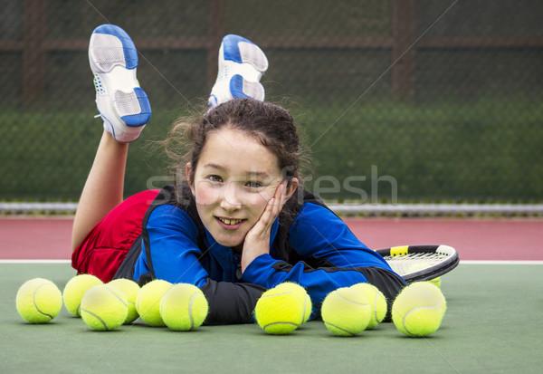 Açık tenis eğlence kız yatay portre Stok fotoğraf © tab62