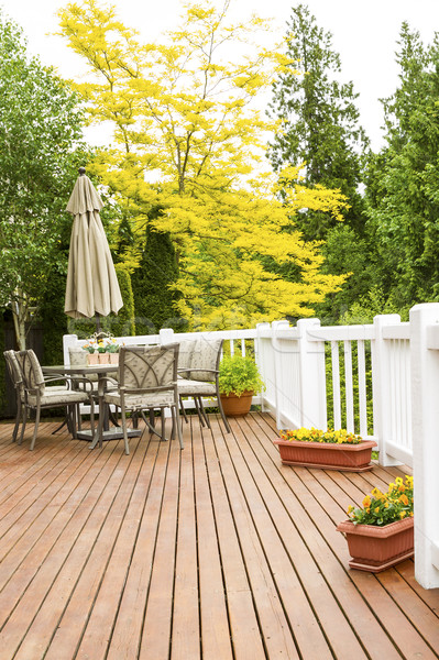 Outdoor Natural Cedar Deck with patio furniture  Stock photo © tab62