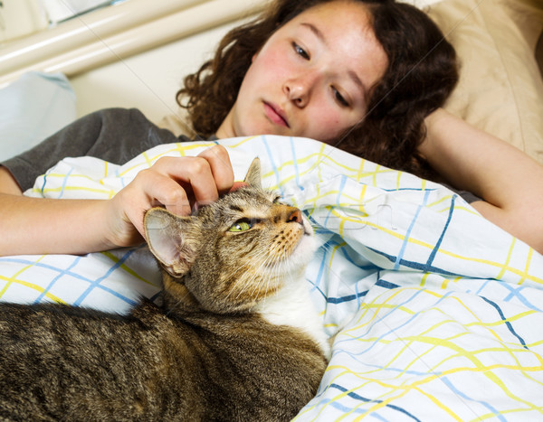 Waking up Together - Girl and her Pet Cat  Stock photo © tab62