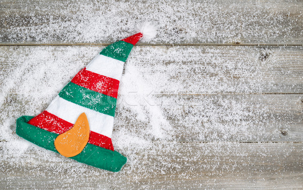 Christmas Elf Stocking on rustic wood with snow  Stock photo © tab62
