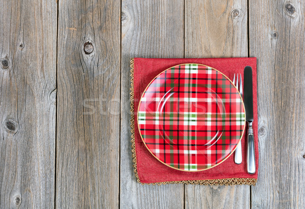 Christmas dinner setting and cloth napkin for the festive holida Stock photo © tab62