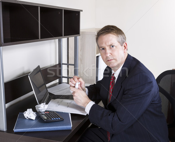 Mature Man not happy working on Personal Income Taxes  Stock photo © tab62