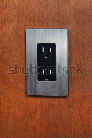 Dual Electrical Outlet on Wooden Wall  Stock photo © tab62