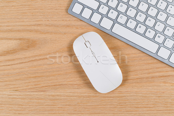 Clean desktop with keyboard and mouse on red oak surface  Stock photo © tab62