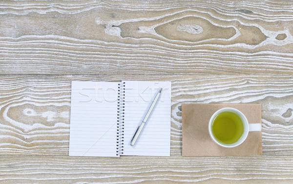 зеленый чай пить Top служба Desktop мнение Сток-фото © tab62