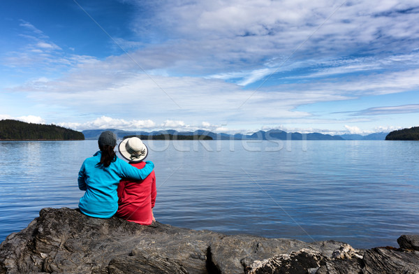 Mother and daughter enjoying nature on the lake  Stock photo © tab62