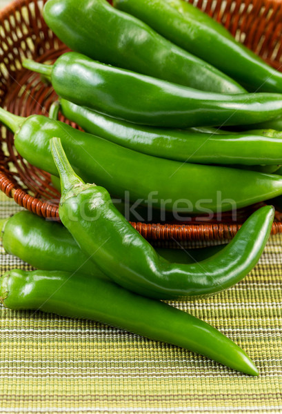 Korean Green Peppers spilling out of Basket Stock photo © tab62