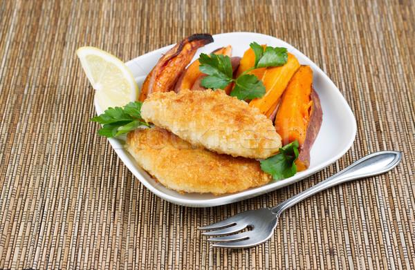 Saine poissons puces horizontal photo frit Photo stock © tab62