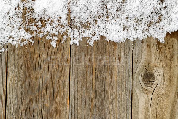 Noël frontière décoration neige rustique bois Photo stock © tab62