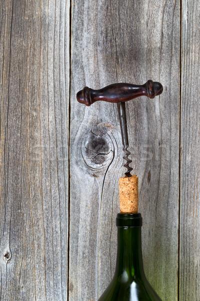 Klasszikus dugóhúzó dugó borosüveg fa függőleges Stock fotó © tab62