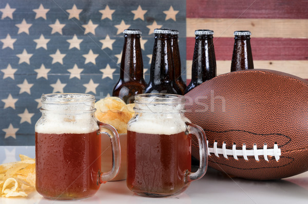 Stockfoto: Amerikaanse · voetbal · bier · chips · USA