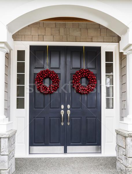 ünnep otthon ajtó elöl bejárat díszített Stock fotó © tab62