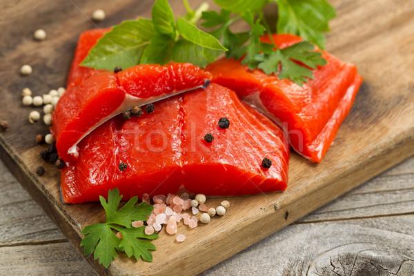 świeże jasne czerwony miedź rzeki łososia Zdjęcia stock © tab62