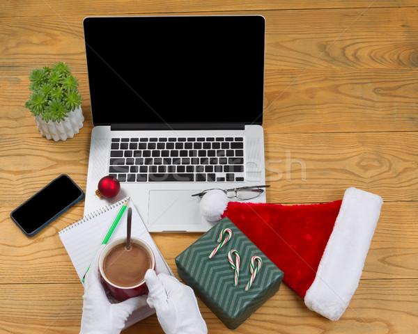 Kerstman drinken warme chocolademelk werk hoog Stockfoto © tab62