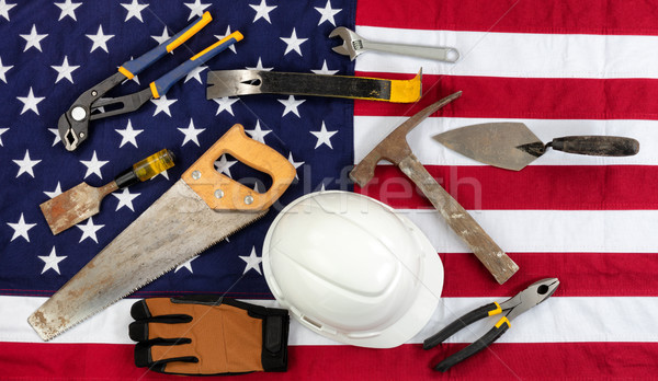 Labor Day holiday concept on cloth United States flag background Stock photo © tab62
