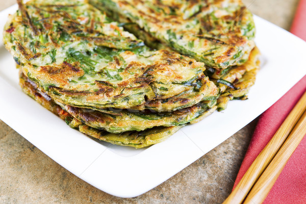 Stock photo: Stacked Korean Green Onion Pancakes Ready to Eat