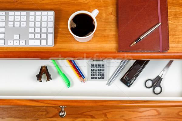Black Cofee on top of cherry desktop Stock photo © tab62