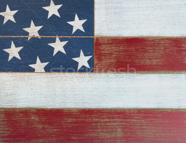 USA national colors painted on faded wooden boards  Stock photo © tab62