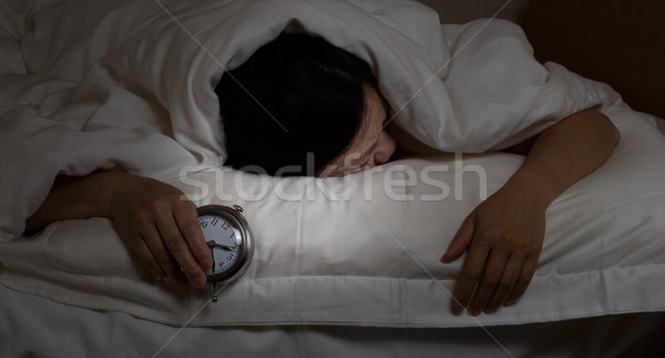 Stock fotó: érett · nő · alszik · éjszaka · idő · nő · álmatlanság