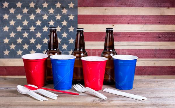 Fourth of July party items on wood Stock photo © tab62