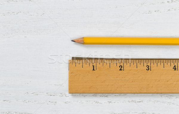 Ahşap cetvel Metal kenar kalem Stok fotoğraf © tab62