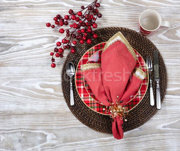 Noël dîner fêtes blanche vue Photo stock © tab62