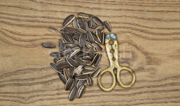 Pile of Unshelled Sunflower Seeds and Hand Tool Cracker  Stock photo © tab62