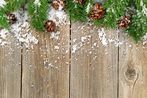 Noël frontière décorations neige rustique bois Photo stock © tab62