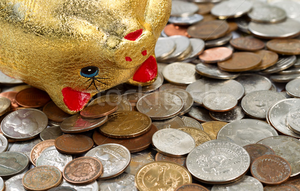 Dying Piggy Bank with spilling coins underneath  Stock photo © tab62