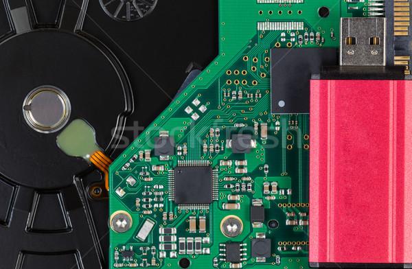 Close up of modern data backup thumb drive and external IDE hard Stock photo © tab62